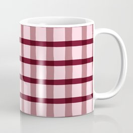 Pink & Burgundy Jagged Edge Plaid Coffee Mug