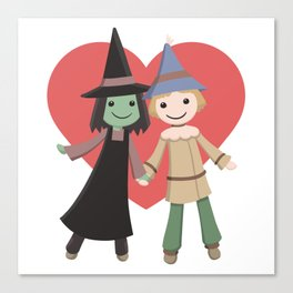 Cute witch and scarecrow Canvas Print
