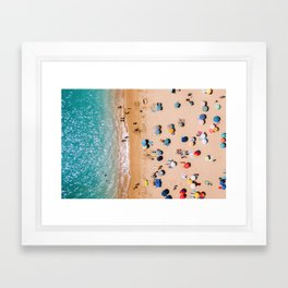 People On Algarve Beach In Portugal, Drone Photography, Aerial Photo, Ocean Wall Art Print Framed Art Print