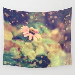 Romance. Golden dust pink daisy with bokeh. Wall Tapestry