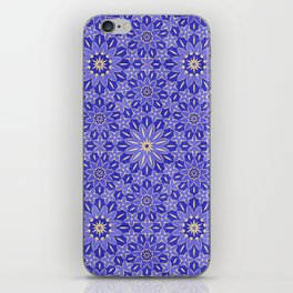 Rings of Flowers - Color: Royal Blue & Gold iPhone Skin