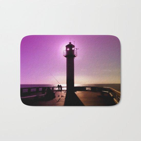 Romance At Sunset Under Sea Lighthouse Bath Mat
