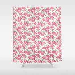 Japanese Sakuramon Flowers Seamless Patterns Symbols Shower Curtain