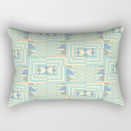 Cream and Aqua Art Deco Rectangular Pillow