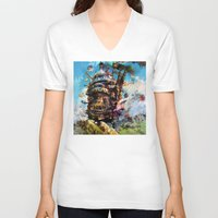 calcifer V-neck T-shirts featuring howl's moving castle by ururuty