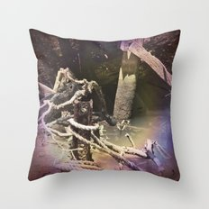 Old wharf and ropes on a river. Throw Pillow