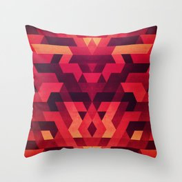 Abstract  geometric triangle texture pattern design in diabolic future red Throw Pillow