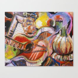 Guitar and Wine Bottle Canvas Print