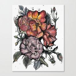 Rose Garden Watercolor Canvas Print