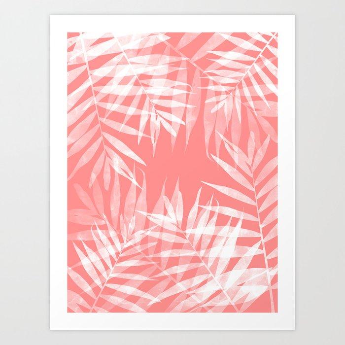 Living Coral Palms Art Print
