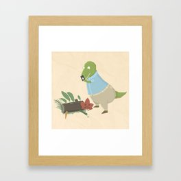 Hipster Dinosaur Instagrams his Vegan Lunch Framed Art Print