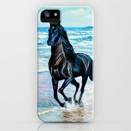 Seascape with black horse iPhone Case