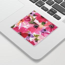 Watercolor Flowers Pink Fuchsia Sticker