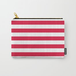 Narrow Horizontal Stripes - White and Crimson Red Carry-All Pouch