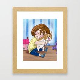 Corgi Hugs Framed Art Print