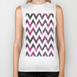 Abstract pink gray white chevron tropical monster leaves Biker Tank