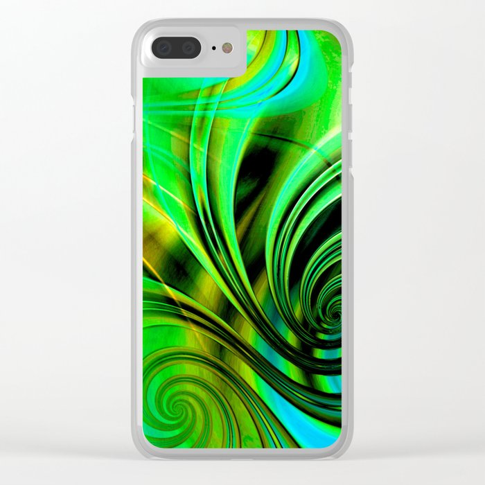 Curls Deluxe Green Clear iPhone Case