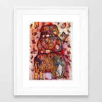 elephants Framed Art Prints featuring Elephants by oxana zaika