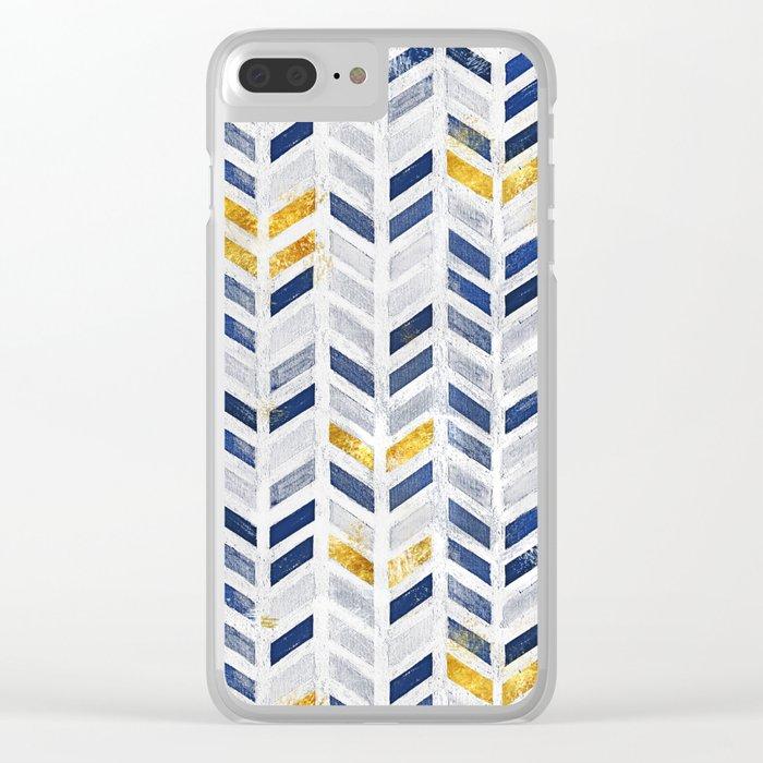 Herringbone chevron pattern.Indigo faux gold acrylic canvas Clear iPhone Case