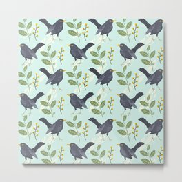 A Flurry Of Wings Spring Blackbird Pattern Metal Print