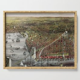 Vintage 19th Century Currier & Ives Brooklyn Lithograph Wall Art in color Serving Tray