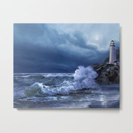 Boston lighthouse under the moonlight Metal Print