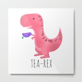 Tea-Rex | Pink Metal Print