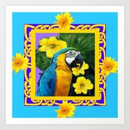 Tropical Blue & Gold Macaw Parrot Purple Art Art Print