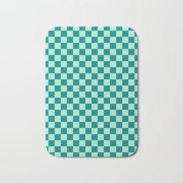 Magic Mint Green and Teal Green Checkerboard Bath Mat