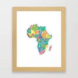 African Continent Cloud Map In Pastels Framed Art Print