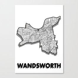 Wandsworth - London Borough - Detailed Canvas Print