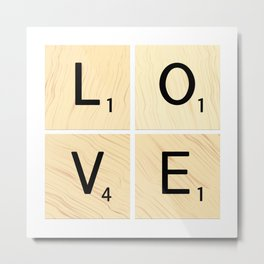 LOVE - Scrabble Letter Tiles Art Metal Print