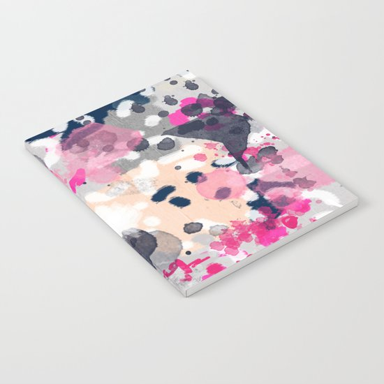 Nico - Abstract painting in modern fresh colors navy, mint, pink, cream, white, and gold Notebook