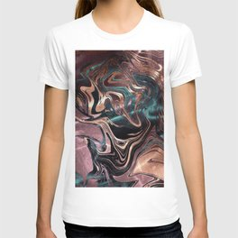 Metallic Rose Gold Marble Swirl T-shirt