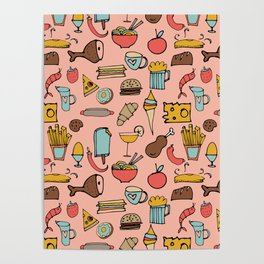 Food Frenzy pink Poster