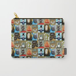 Studio Ghibli Collage - Calcifer, Jiji, Turnip, No Face, Markl, Kodama, Cat Bus & Soot Sprites Carry-All Pouch