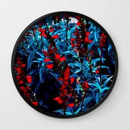 Alien plants indigo blue landscape red bright garden planet Wall Clock