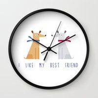 best friend Wall Clocks featuring Best Friend by Juliana Motzko