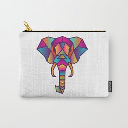 Elephant   Geometric Colorful Low Poly Animal Set Carry-All Pouch