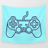 playstation Wall Tapestries featuring Playstation 1 Controller - Retro Style! by Rikard Röhr