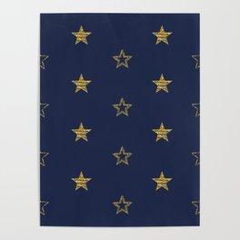 Golden Dust Stars   Pattern Art Poster