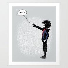 Boy with Robot Art Print