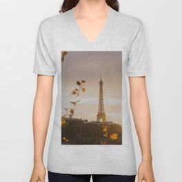 Fall golden hour in Paris Unisex V-Neck
