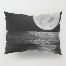 Full Moon, Moonlight Water, Moon at Night Painting by Jodi Tomer. Black and White Pillow Sham