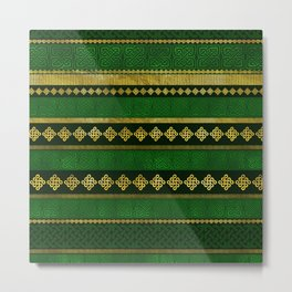 Celtic Knot Decorative Gold and Green pattern Metal Print