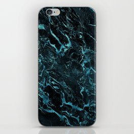 Black & Teal Color Marble iPhone Skin