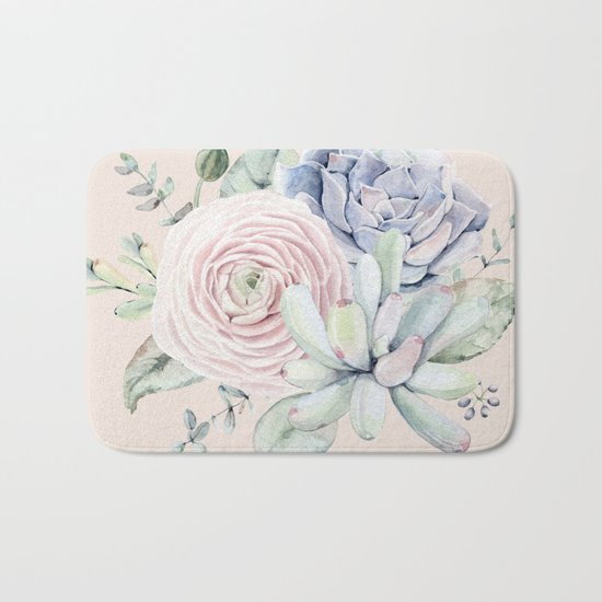 Pretty Pink Succulents Garden Bath Mat