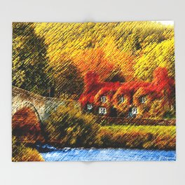 Autumn Foliage House with Red Parthenocissus On House Landscape by Jéanpaul Ferro Throw Blanket