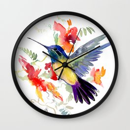 Hummingbird, floral bird art, soft colors Wall Clock