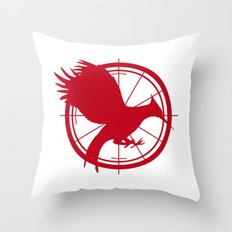 Catching Fire MockingJay - Red Throw Pillow